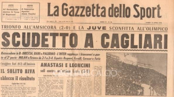 La Gazzetta dello Sport, Lo scudetto a Cagliari, 1970