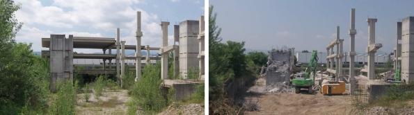 """Marano Vicentino, Viale Europa, """"eco-mostro"""" in corso di demolizione (giugno 2015)"""