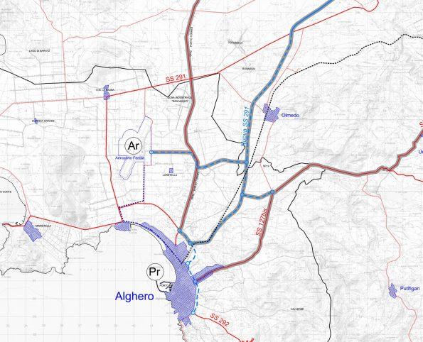 Alghero, i tracciati della S.S. n. 127 bis e della S.P. dei Due Mari (esistenti) e quello della S.S. n. 291 (in progetto)