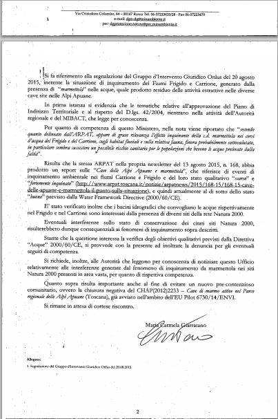 nota Ministero dell'Ambiente, della Tutela del Territorio e del Mare - D.G. Protezione Natura prot. n. 16603 del 27 agosto 2015 (pagina 1)