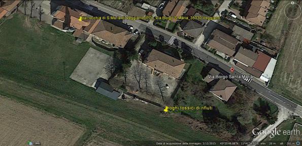 Veggiano, rogo di rifiuti (in giallo, agosto 2015), individuazione sito (da Google Earth)