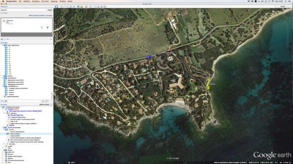 Villasimius, Capo Boi, individuazione presenza scarichi a mare (da Google Earth)