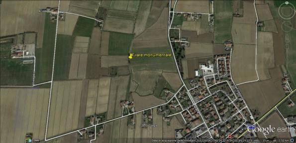 Cervarese S. Croce, localizzazione del filare di Querce monumentali