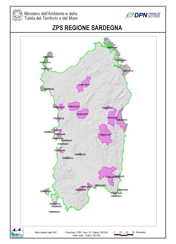 aree naturali protette (Z.P.S.) della Rete Natura 2000 in Sardegna