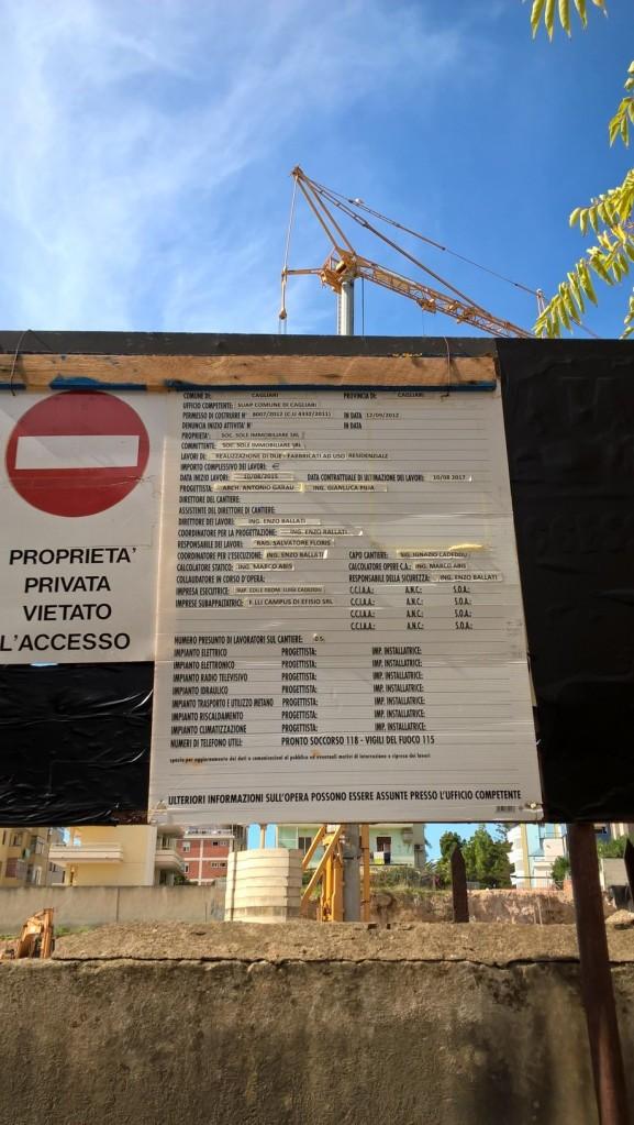 """Cagliari, Via Asti, cartello """"inizio lavori"""""""