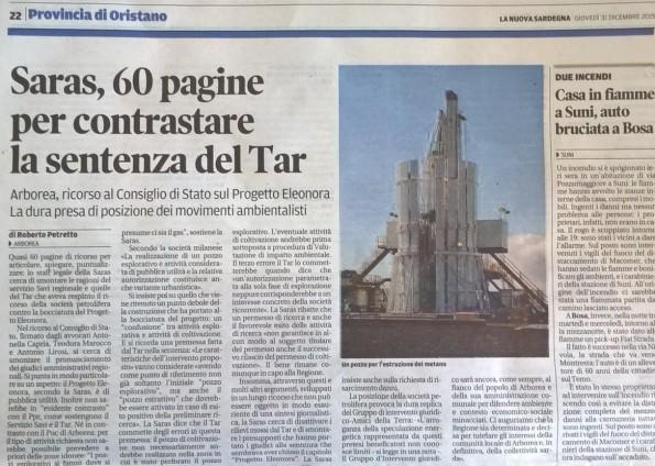 La Nuova Sardegna, 31 dicembre 2015