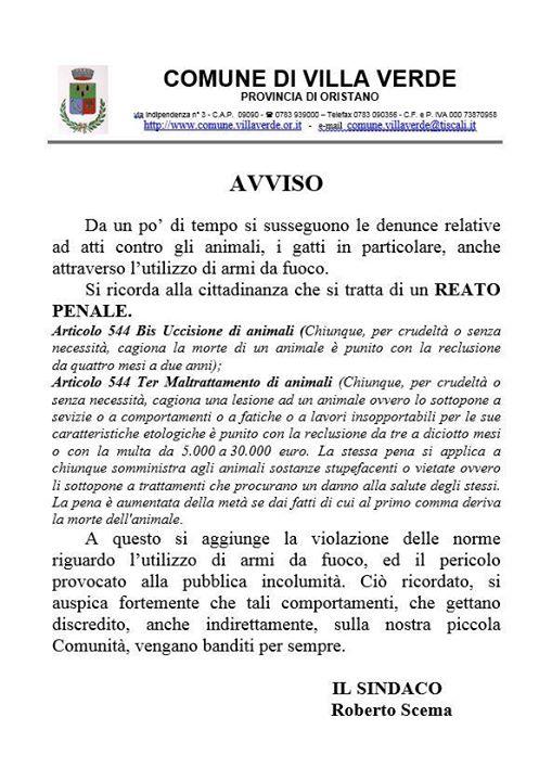 """Comune di Villa Verde, avviso pubblico del Sindaco Roberto Scema contro lo """"sparatore"""" dei Gatti (14 gennaio 2016)"""