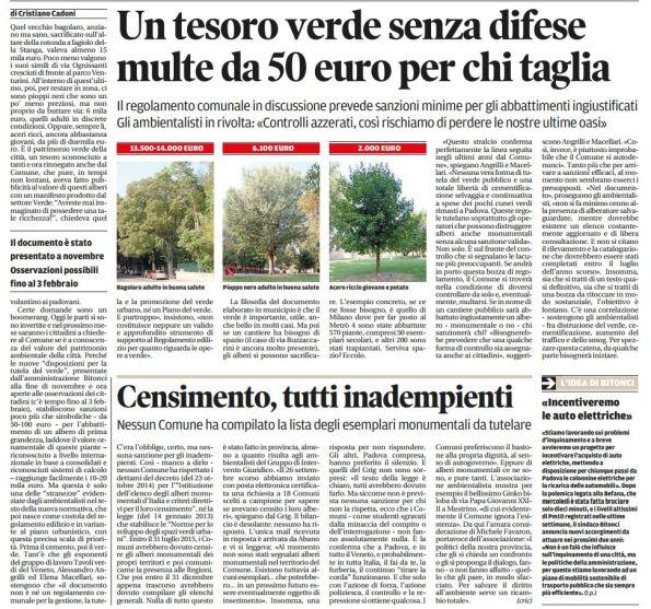 Il Mattino di Padova, 8 gennaio 2016