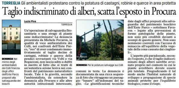 Gazzettino_2017-03-21_Torreglio esposto M.Favaron per taglio indiscriminato alberi (2)