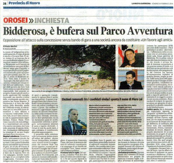 La Nuova Sardegna, 19 febbraio 2016