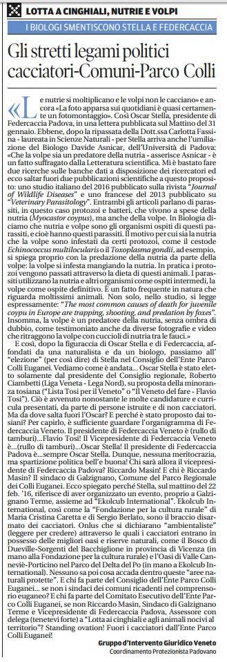 Il Mattino di Padova, 26 febbraio 2016
