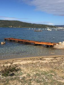 Olbia, Punta Asfodeli, lavori in corso per la realizzazione del pontile (febb. 2016)