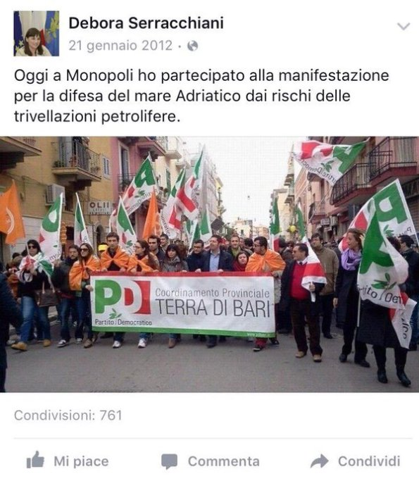 screenshot della pagina Facebook di Debora Serracchiani (da L'Huffington Post)