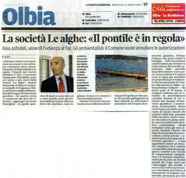 La Nuova Sardegna, 16 marzo 2016
