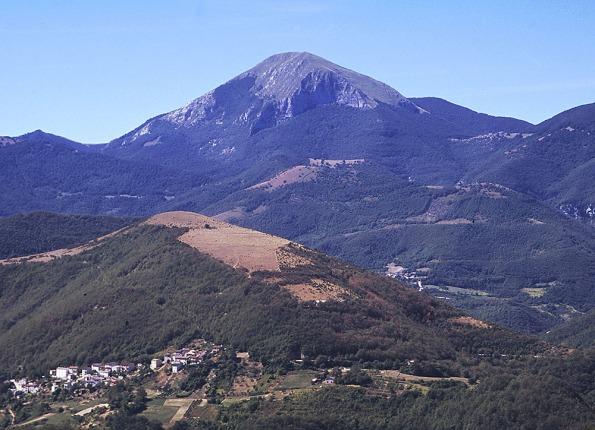 in primo piano il monte della Pantana (Sassoferrato, AN), dietro il monte Cucco (Umbria)