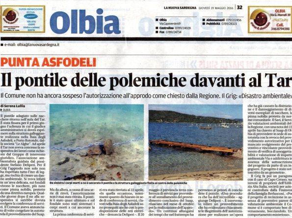 La Nuova Sardegna, 19 maggio 2016