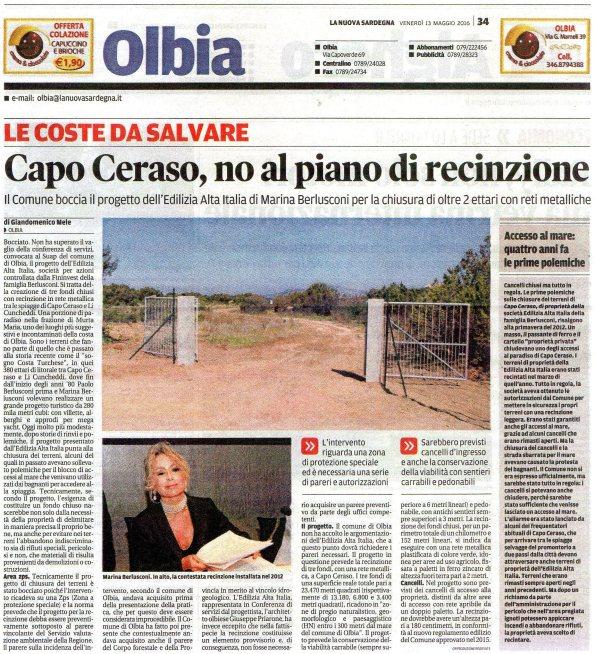 La Nuova Sardegna, 13 maggio 2016