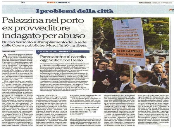 La Repubblica, BA, 27 aprile 2016
