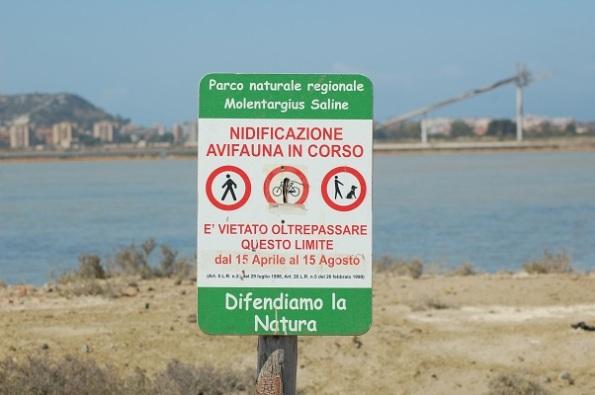 "parco naturale ""Molentargius-Saline"", cartello di avvertimento"