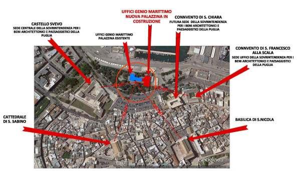 Bari, planimetria dell'area del Castello normanno-svevo e di Bari Vecchia