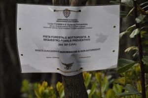 Domusnovas, Foresta demaniale del Marganai, loc. Isteri, strada forestale sequestrata (maggio 2016)