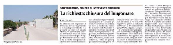 La Nuova Sardegna, 10 giugno 2016