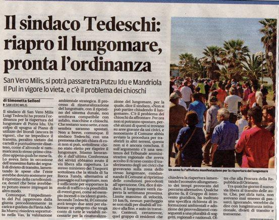 La Nuova Sardegna, 3 luglio 2016