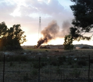Selargius, località Sa Muxiurida, incendio di rifiuti (giugno 2016)