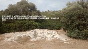 Castiadas, Cala Pira, Posidonia e sabbia rimosse