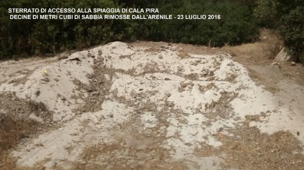 Castiadas, Cala Pira, Posidonia rimossa