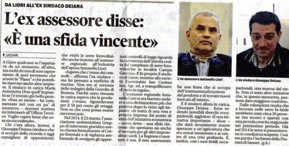 La Nuova Sardegna, 12 luglio 2016