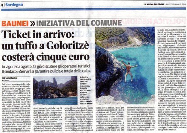 La Nuova Sardegna, 21 luglio 2016