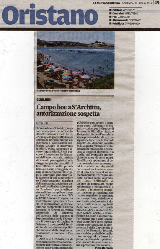La Nuova Sardegna, 31 luglio 2016
