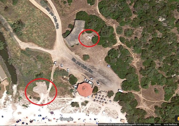 Castiadas, Cala Pira, localizzazione dei cumuli di sabbia e Posidonia (23 luglio 2016)