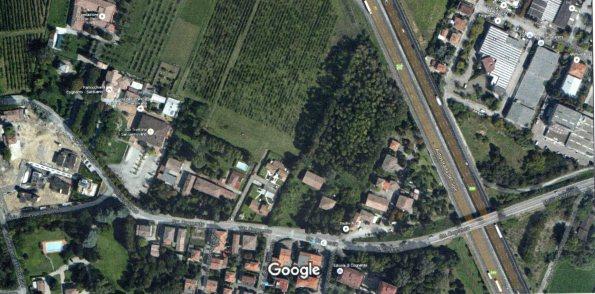 Modena, Via Omboni, pioppeto rinaturalizzato (da Google Earth)