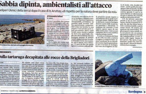 La Nuova Sardegna, 7 agosto 2016
