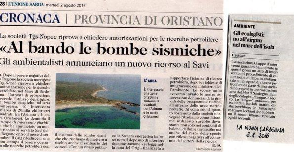 L'Unione Sarda e La Nuova Sardegna, 2 agosto 2016