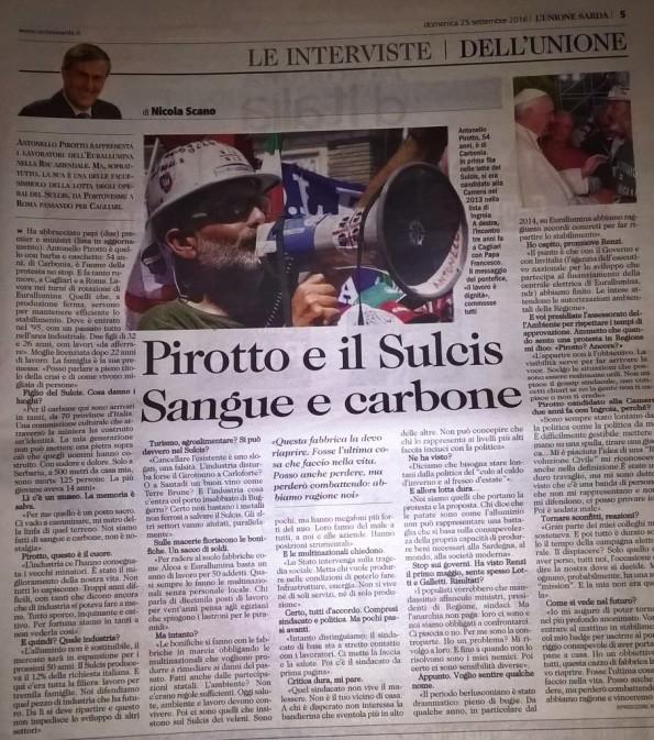 L'Unione Sarda, 25 settembre 2016