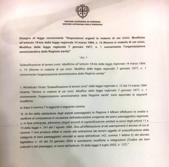 """disegno di legge regionale concernente """"Disposizioni urgenti in materia di usi civici. Modifiche all'articolo 18-bis della legge regionale 14 marzo 1994, n. 12 (Norme in materia di usi civici. Modifica della legge regionale 7 gennaio 1977, n. 1 concernente l'organizzazione amministrativa della Regione sarda)"""""""