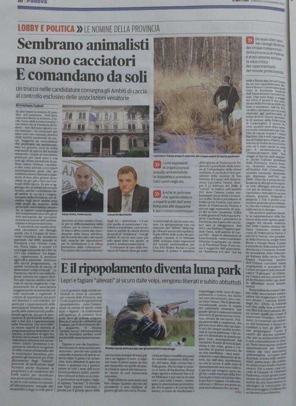 Il Mattino di Padova, 18 dicembre 2016
