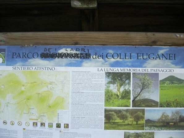 Parco naturale regionale dei Colli Euganei. cartello informativo
