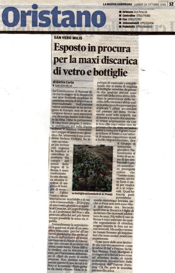 La Nuova Sardegna, 24 ottobre 2016