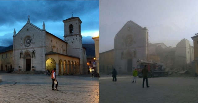 Norcia, Chiesa di San Benedetto prima e dopo il terremoto del 30 ottobre 2016