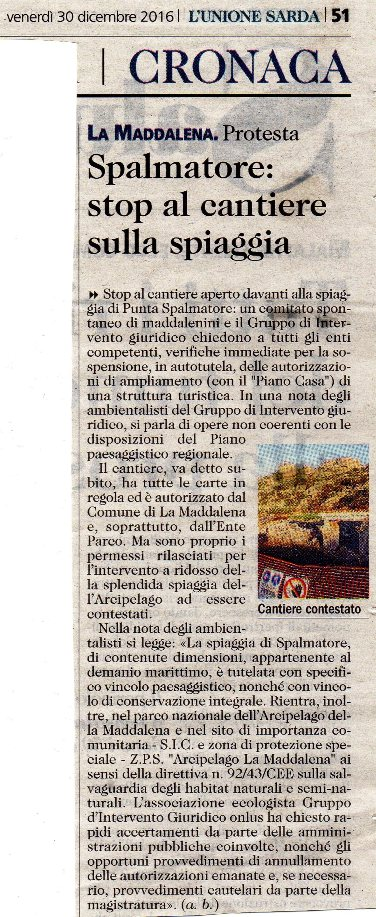 L'Unione Sarda, 30 dicembre 2016