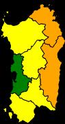 Regione autonoma della Sardegna, avviso di criticità ordinaria (gialla), 21 gennaio 2017