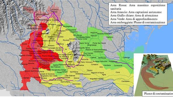 Veneto, aree contaminate da PFAS