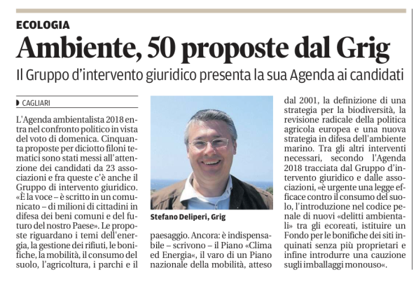 La Nuova Sardegna, 1 marzo 2018