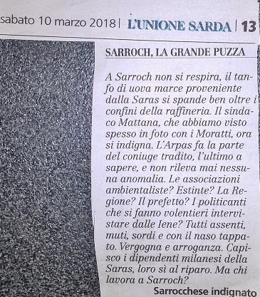 lettera Sarrochese indignato, L'Unione Sarda 10 marzo 2018