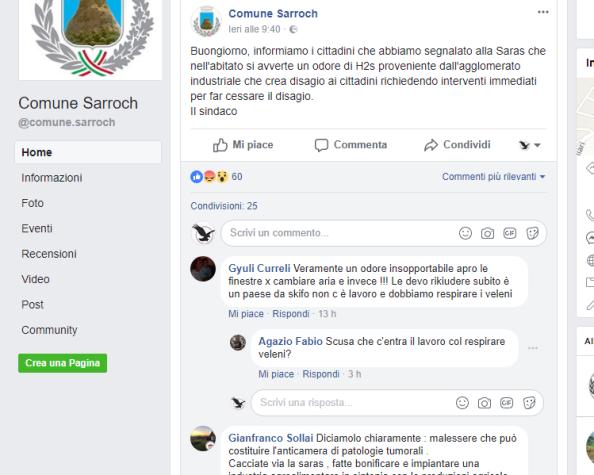 Screenshot pagina FB Comune Sarroch, 10 marzo 2018