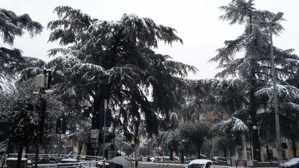 Poggibonsi, Piazza Mazzini con la neve